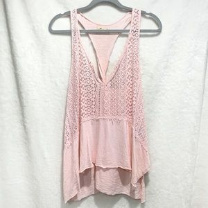 Hollister Pink Frayed & Lace Tank Top